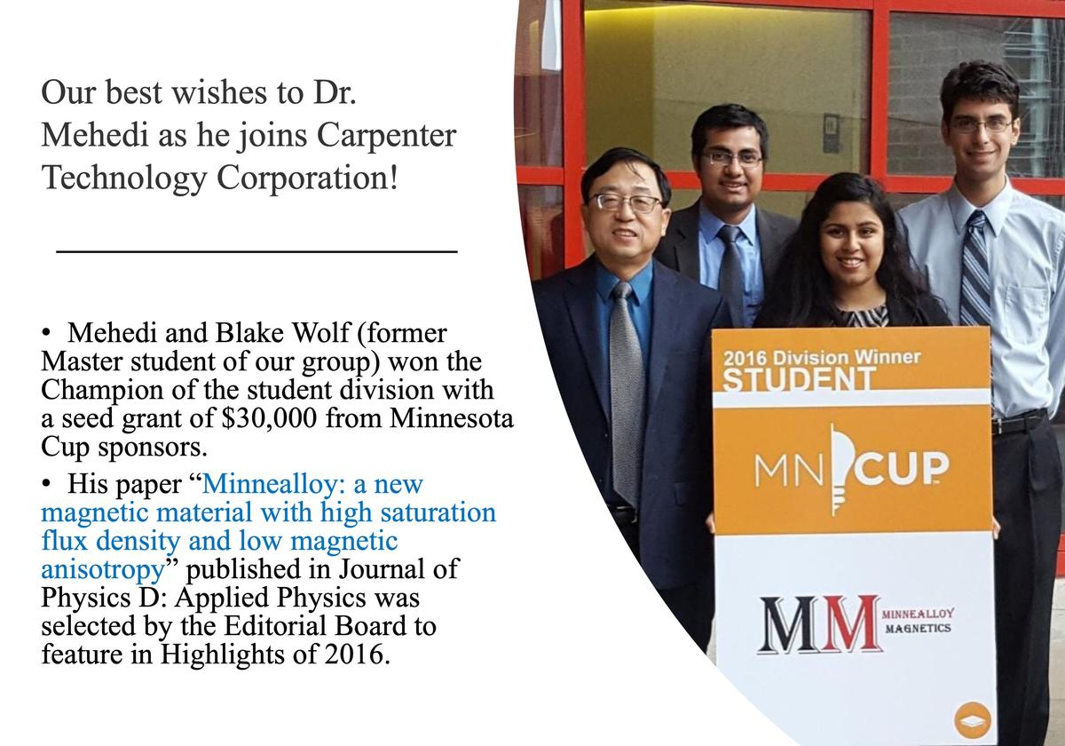 Our best wishes to Dr. Mehedi as he joins Carpenter Technology Corporation!