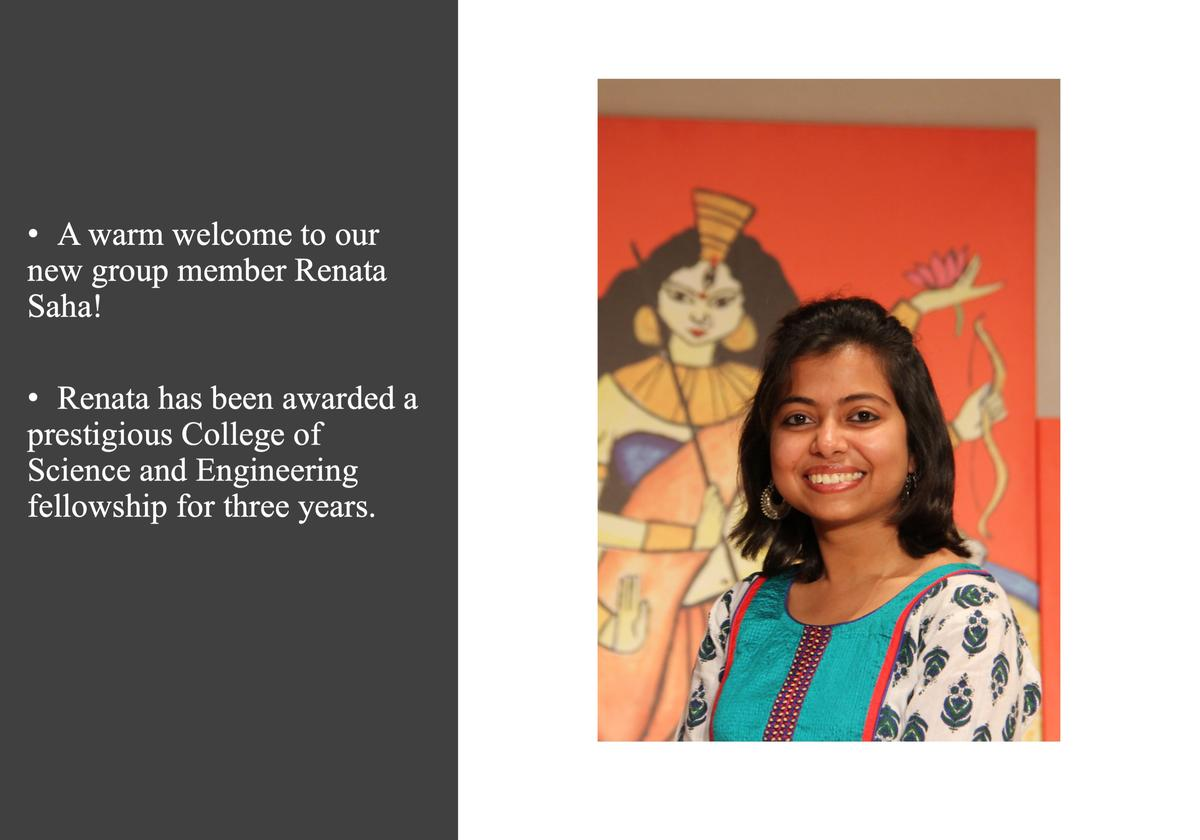 A warm welcome to Renata Saha and congratulations on her CSE fellowship!